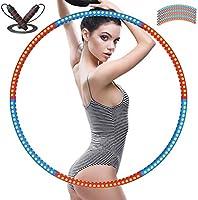 YockTec hoelahoep, gewogen fitness hoelahoep 1,2 kg (2,4 lbs) en een verstelbaar springtouw (2 m) afneembare...