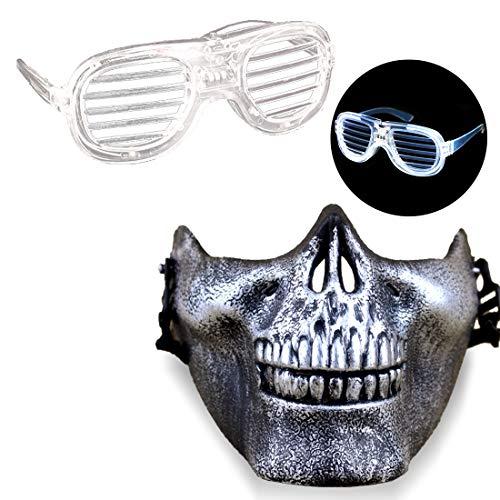 Acoser Halloween Masken LED Leuchtbrille Spielzeug Halbe Gesichter Horror Maske Festival Party Cosplay Nachtclub Karneval Accessoires(Weiß)