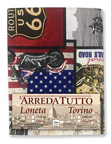 Tex family Tissu d'ameublement, grand foulard, couvre-canapé, tissu LONETA America U.S. Route 66 New – 2 places