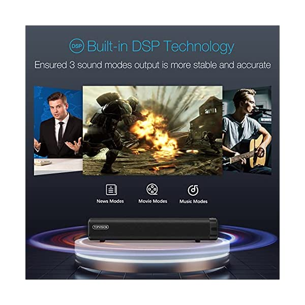 TOPVISION 50W Sound Bar, 16-Inch Small Sound Bars for TV, 3 Equalizer Modes, Wireless Bluetooth 5.0, Optical/Aux/USB…