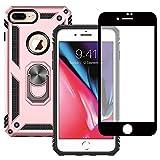 Yiakeng Funda Apple iPhone 7 Plus / 8 Plus New Edition Carcasa con Protector Pantalla Cristal Templado, Silicona Armor Case con Kickstand para Apple iPhone 7 Plus / 8 Plus (Oro Rosa)