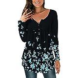 Pabuyafa Blusas de manga larga con cuello en V y estampado floral para mujer, blusa suelta con botones, azul oscuro, L
