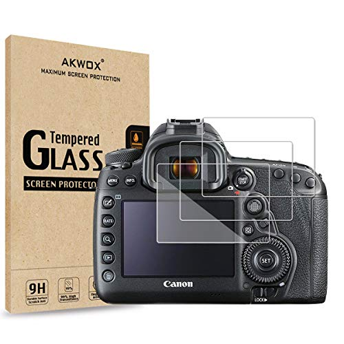 [3-Pack] Tempered Glass Screen Protector for Canon EOS 5D Mark IV 5D4 5DIV 5DS 5DS R DSLR Camera, AKWOX [0.3mm 2.5D High Definition 9H] Optical LCD Premium Glass Protective Cover
