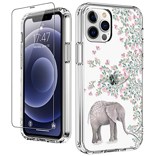 LUHOURI Clear iPhone 13 Pro Case with Screen Protector,Elephant Floral Flower Designs on Crystal Cover for Women Girls,Protective Phone Case for iPhone 13 Pro 6.1'