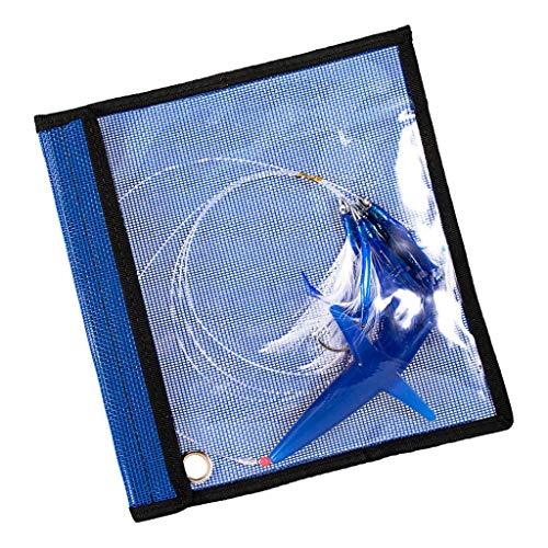 Señuelo de Cadena Margaritas Plumas de Atún con Bolsa de Malla Cebos para Pesca de Mar - Azul