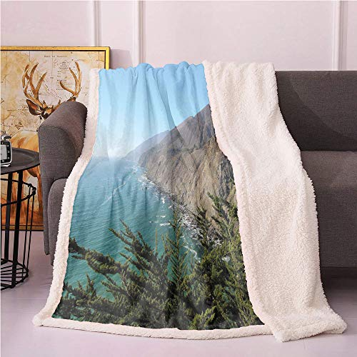 Big Sur Sherpa Blankets,Panoramic Photo of Ragged Point Southern Coast Mountains Ocean and Trees Cali Lightweight Fluffy Flannel,for Sofa Couch Bed Fur Blanket(50in x 60in,Multicolor)