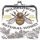 Portamonete disegnato a mano Honey Bee Wildflowers Poppy Cute CoinRPorta monete etro Portamonete cambio carte piccolo portafoglio