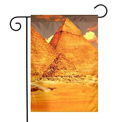 CHANGSHABF Garden Flagge Gelbgold Ägyptische Pyramiden Festival Garten Flagge Haustür Flagge Dekorative Home Outdoor Flagge 30X45Cm