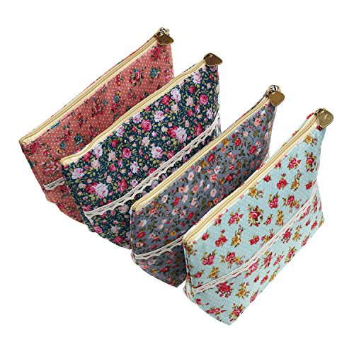 4 Stücke sortierte große Kapazitäts-Blumen-Blumenfeder-Halter-Briefpapier-Bleistift-Beutel, der Multifunktionskosmetik-Beutel reist