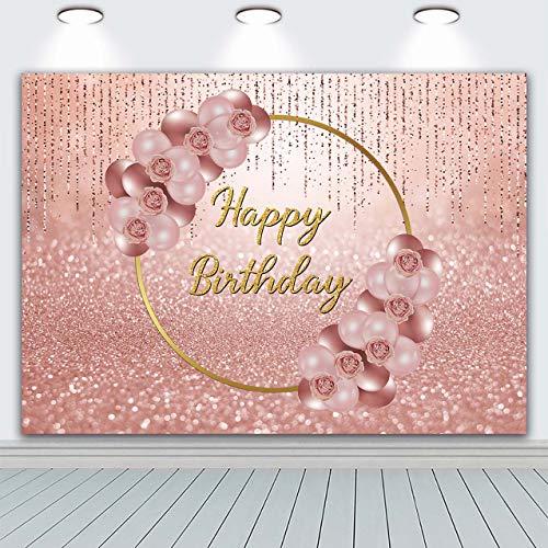 BINQOO Fondo de cumpleaños de 2,1 x 1,5 m rosa oro globo oro anillo flores fondos fotografía reina mujeres dulce princesa niña 16 18 cumpleaños fiesta