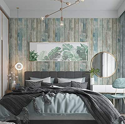 Abyssaly Wood Wallpaper Self-Adhesive Removable Wood Peel and Stick Wallpaper Decorative Wall Covering Vintage Wood Panel Interior Film Leave No Trace Surfaces Easy to Clean