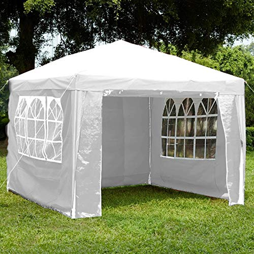 Loop 3x3m Garden Gazebo Marquee Tent with Side Panels, Fully Waterproof, Powder Coated Steel Frame for Outdoor Wedding Garden Party White(3mx3m)