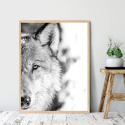Cuadro de lobo blanco y negro, impresión de cartel de fotografía de animales del bosque, pintura en lienzo, pared,sala de estar, decoración del hogar, arte de pared 40x70cm sin marco