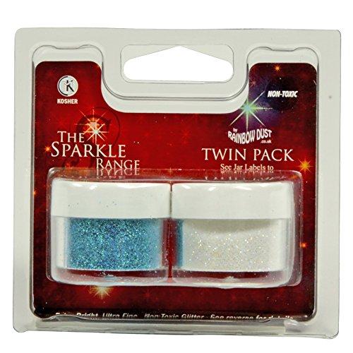 bakeryteam Rainbow Dust The Sparkle Range Dekorations Glitzer Set Blau + Weiß (10g)