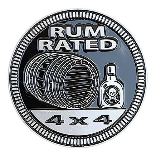 "Badge Glow ""Rum Rated"" Metal Automotive Badge..."