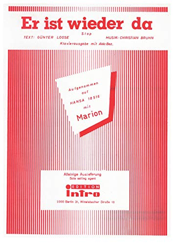 Er ist wieder da: as performed by Marion, Single Songbook (German Edition)