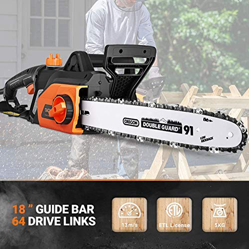 TACKLIFE 15 Amp Electric Chainsaw, 18-Inch Chain Bar Corded Chainsaw, 13m/s Chain Speed, Tool-Free Chain Tensioning, Auto Oiling, Copper Motor, Lightweight