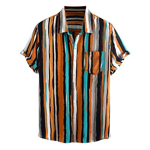 Great Features Of Mens Striped Printed Shirts Turn Down Collar Short Sleeve Casual Shirts