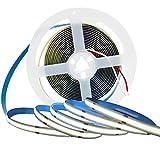 Tesfish Tira de luz LED, Tiras de Luces COB DC 12V 5M 300 LEDs / M Total 1500 LEDs Blanco 6000K Luz de Neón Flexible Súper Brillante para Fiestas, Mostradores, Estantes, Decoración del Hogar