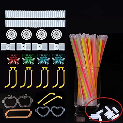 100 Varillas Fluorescentes, 50 Conectores   Pulseras De Varillas Fluorescentes Multicolor   Pulseras De Mariposa, Gafas, Bolas De Flores