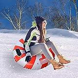 BOKAPA Inflable Tubo de Nieve con Asa 85cm Deslizadores Hinchables de Nieve para Niños y Adultos Invierno Redondo Rojo Plástico Trineos de Nieve
