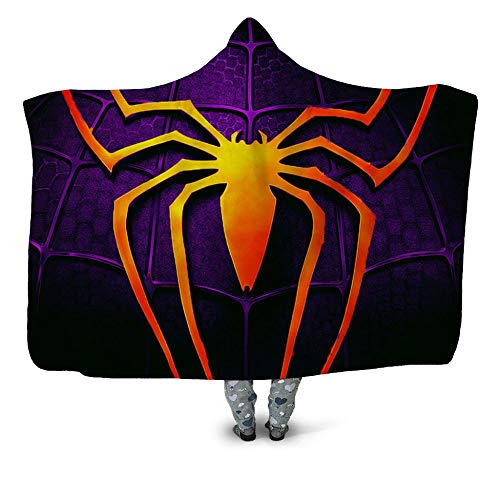 WZSZSA Fluffy TV Blanket with Hood Orange Spider Purple Background 3D Throw Fleece Sofa Blanket 60x80inch Polyester Microfiber Warm Comfy Wearable Hooded Adult children Blanket