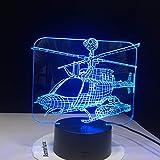 3D LED Hauptdekoration 7 Farbwechsel Hubschrauber Modellierung Tischlampe USB Flugzeug Nachttischlampe Flugzeug Nachtlicht Geschenk