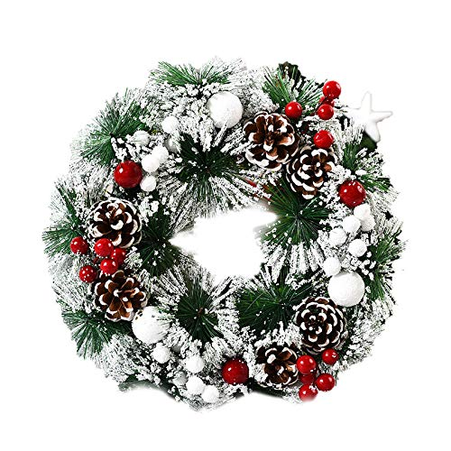 OFMWBN 12.64 Inch Christmas Wreath, Garland Wreath Decoration Christmas Front Door Hanging Wreath, Merry Christmas Ornament Decor with Artificial Pine Cones Red Berry Christmas Balls (D)