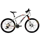BEIOU Carbon Fiber Mountain Bike Hardtail MTB with shi Mano M610 DEORE 30 Speed Ultralight 10.8 kg RT 26 Professional External Cable Routing Toray T800 Glossy Red CB005 (Red, 17-Inch)