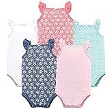 Hudson Baby Unisex Baby Cotton Sleeveless Bodysuits, Basic Dot Floral, 9-12 Months