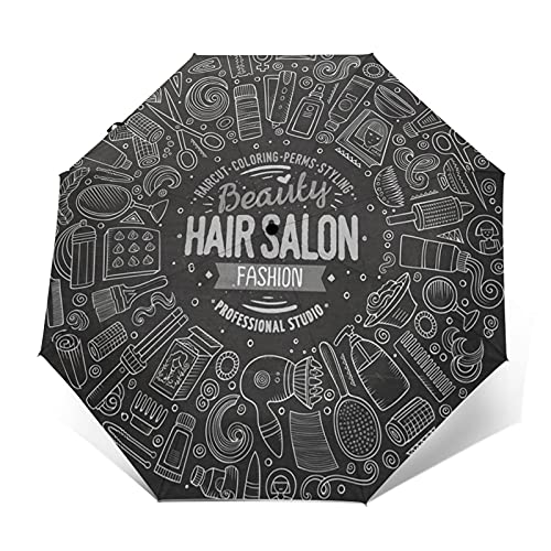 Paraguas Plegable Automático Impermeable Cabello de Pizarra de Belleza, Paraguas De Viaje Compacto Prueba De Viento, Folding Umbrella, Dosel Reforzado, Mango Ergonómico