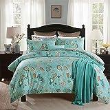YUY Bettwäsche Set Floral Cotton Bettbezug Set Blau