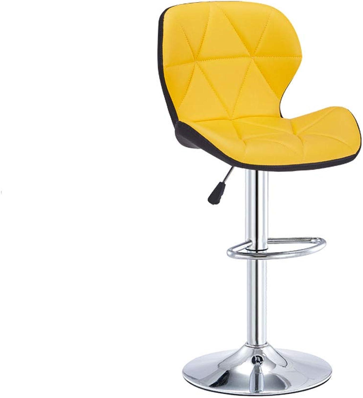 CCF Bar Table Chair Lift Swivel Chair Back Nail Chair bar Stool high Stool Home Fashion Creative Beauty Round Stool V (color   Black Yellow)