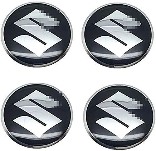 4Pcs 56.5mm, Tapas de cubo de rueda Emblema 3D Tapas de centro de cubo de aluminio con pegatinas de logotipo Accesorios de coche, para Suzuki Swift SX4 Jimny Samurai Vitara Alto Liana
