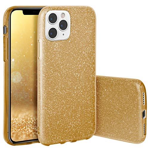 QULT Handyhülle kompatibel mit iPhone 11 Pro Hülle Glitzer Gold glänzend TPU Tasche iPhone 11 Pro Case Silikon Bumper Case Glitter Design Sparkles Golden