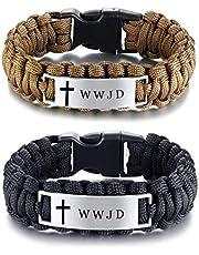LiFashion Free Engraving Personalizada Religiosa Trenzada Pulsera WWJD para Hombres, 9 Pulgadas, Negro, Marrón