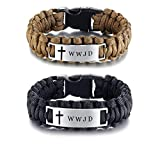 Sunling 2 Pack Free Engraving Custom Religious Braided Paracord WWJD Bracelet for Men,9 Inches,Black,Brown