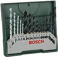 Bosch Set mixto Mini-X-Line con 15 unidades para taladrar (para madera, piedra y metal, accesorios para taladro atornillador)