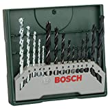 Bosch Home and Garden Bosch 2607019675 X-Line Set Mini, 15 Punte, Metallo Legno Muro, Green, Set di 15 Pezzi