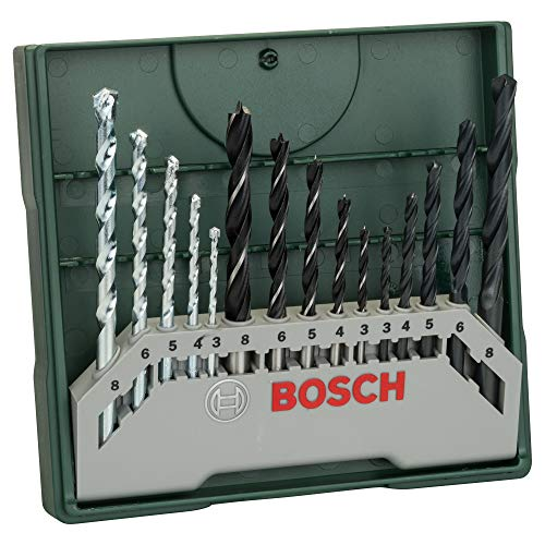 Bosch 2607019675 15-Piece Mini-X-Line Twist Drill Bit Set (Wood, Masonry and Metal, Accessories for Drills) , Silver/Black , 157mm x 150mm x 20mm