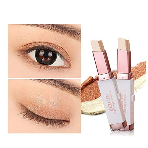 Glitter Gradient Eye Shadow Stick,Two-Tone Eyeshadow Stick,Easy to Apply Eye Makeup Suitable for Beginners. (2#)