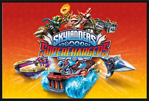 Skylanders - SuperChargers Jump and Run Giants Videospiel, Maxi-Poster, Druck, Poster - Grösse 61x91,5 cm + Wechselrahmen, Shinsuke® Maxi Kunststoff schwarz, Acryl-Scheibe