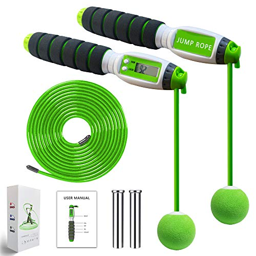 GIMCALO Jump Rope, Digital Counting Speed Jumping Rope Counter for Indoor and Outdoor Fitness, Adjustable Weighted Ropeless Jump Rope Workout for Men, Women, Children Exercise, Cordless Skipping Rope