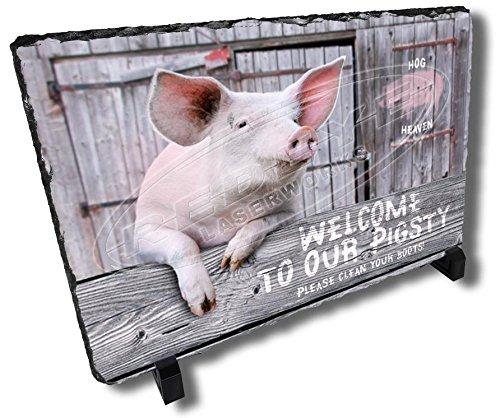 Redeye Laserworks Pigsty Welcome Decorative Country Stone Plaque.