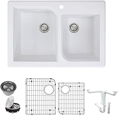 Transolid K-RTDO3322-01 Radius Granite 1-Hole Drop-in Double Offset Bowl Kitchen Sink Kit, 33-in L x 22-in W x 9-in H, White
