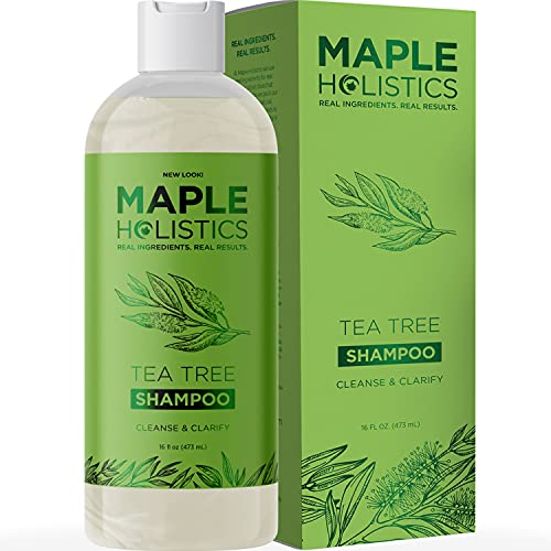 Refreshing Tea Tree Oil Shampoo - Tea Tree Shampoo for Oily Scalp and Clarifying Shampoo for Oily Hair - Cleansing Shampoo for Greasy Hair and Flaky Scalp Cleanser for Build up with Essential Oils