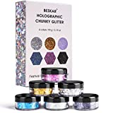 Holographic Chunky Glitter, 90g / 3.2oz Makeup Glitter Set for Face Body Nail Hair Eyes, Fine Cosmetic Chunky Glitter Mix of Stars, Moon, Hexagons, Dot, Dust, Ideal for Festival, Rave, Costume