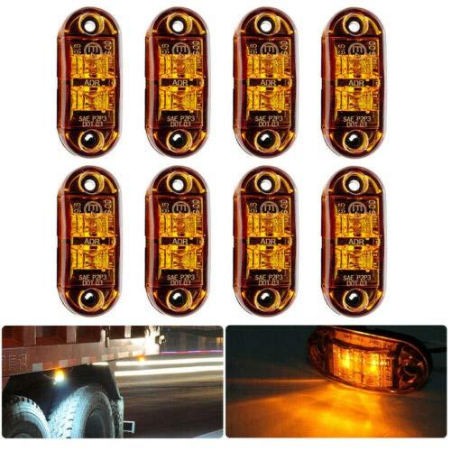 MACHSWON - Juego de 8 luces laterales LED intermitentes, 12 – 24 V, ámbar, LED, coche, camión, lateral, indicador de luz, 72 x 34 x 20 mm