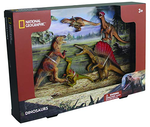 6 Piece National Geographic Toy of 6 Realistic Dinosaurs - Educational Dinosaur Gift & Play Set - 2 Inches to 6 Inches Tall Dinosaurs