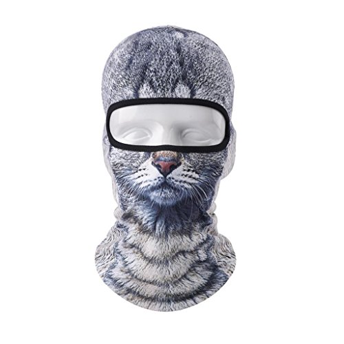 VERTAST Balaclava Sturmhaube, 3D Tier aktive Kopfhaube für Skifahren Radfahren Motorradfahren Helm Liner Wandern Camping Nackenwärmer (Katzen-Junge)